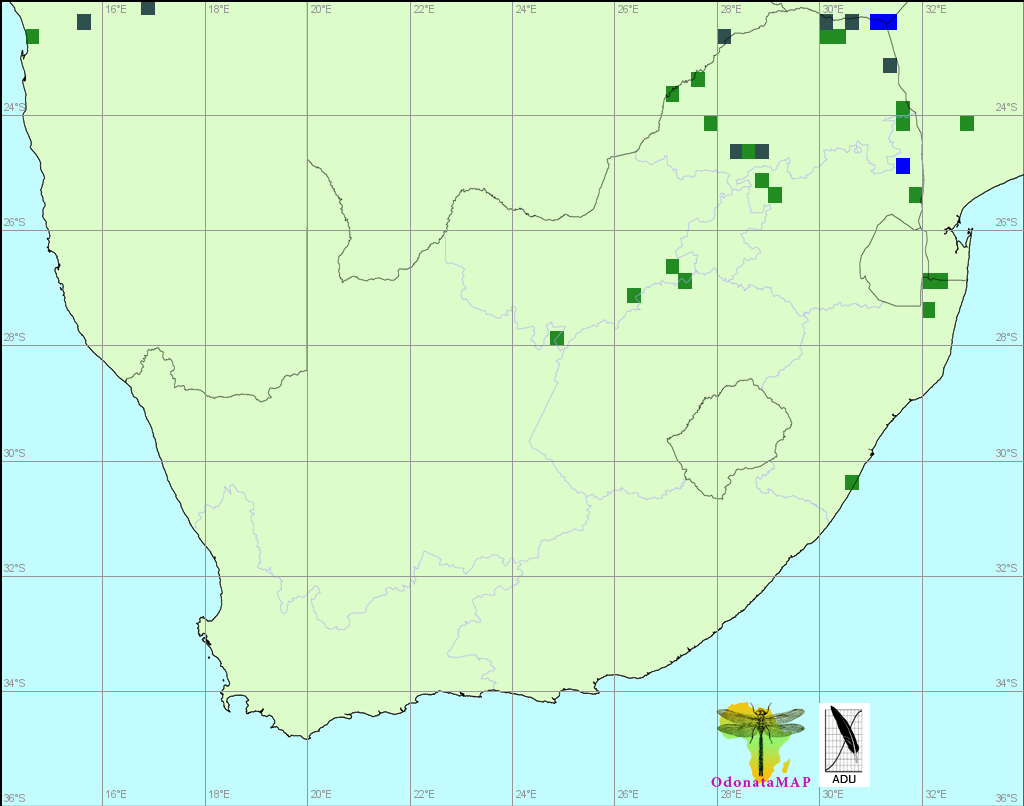 Bottletail,Olpogastra lugubris). Distribution Map